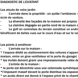 Diagnostic de l'existant, intentions de projet