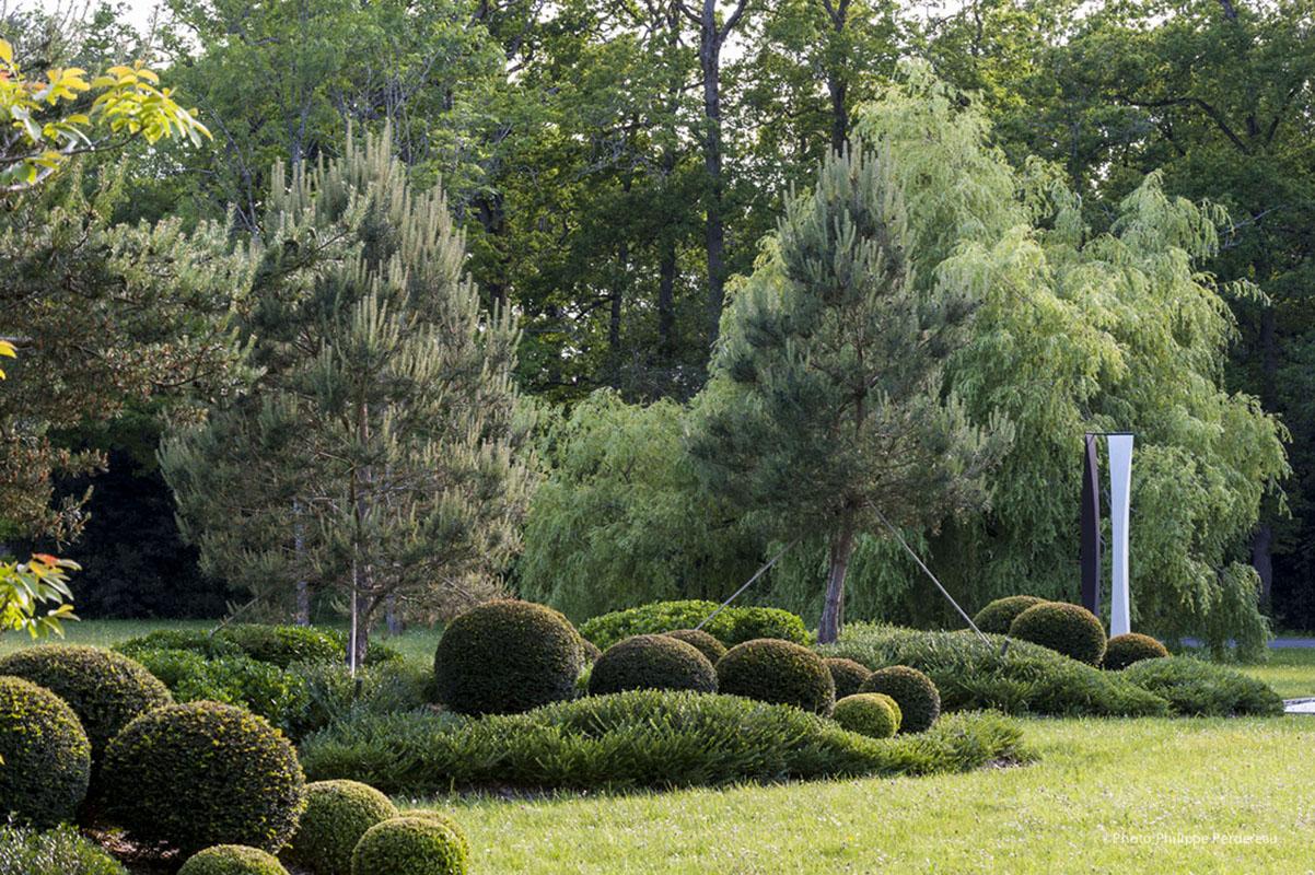 Jardin ancien marais mur srtucturer espace allee schiste for Jardin avec arbustes